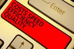 Kvalitet för effektivitet för hastighet för kostnader för ordhandstiltext Affärsidéen för effektiva operationförlageefterbehandli arkivfoton