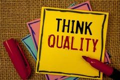 Kvalitet för handskrifttextfunderare Begreppsbetydelse som tänker av lyckade idéer för innovativa värdefulla lösningar Royaltyfri Bild