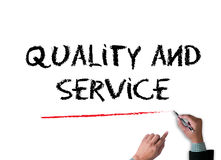 Kvalitet och service, kvalitet - service - pris Arkivfoto