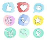 Kvalitet som, favorit, post, meddelande, telefon, korg, lägeöversikt, sökande Goda för rolig stil för ungar vektor illustrationer