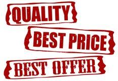 Kvalitets- bästa pris och bästa erbjudande vektor illustrationer