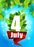 Kvalitets- bakgrund med gröna sidor Ljus affisch Juli 4th med blommor och Fotografering för Bildbyråer
