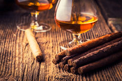 kvalitets- cigarrer och konjak royaltyfri fotografi