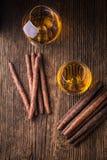 kvalitets- cigarrer och konjak Fotografering för Bildbyråer