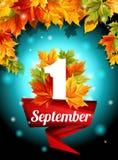 Kvalitets- design September 1, rengöringsdukdesign, garnering, ferie, malluppsättning Höstsidor smyckar affischen vektor Royaltyfri Foto