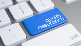 Kvalitets- försäkring - inskrift på blå tangentbordtangent 3d stock illustrationer