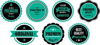 Kvalitets- förseglar eller klistermärkear Arkivbild