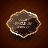 Kvalitets- högvärdigt emblem för etikett för produktdesign guld- Arkivfoto