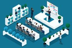 Kvalitets- Isometrics, 3D tecken, affärsfolk på konferensen som arbeta som privatlärare åt Utmärkt begrepp för annonsering och pr royaltyfri illustrationer