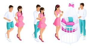 Kvalitets- Isometrics, en romantisk uppsättning av par under havandeskap, födelsen av ett barn, ett härligt behandla som ett barn royaltyfri illustrationer