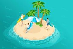 Kvalitets- Isometrics, vilar av ungdomarpå ön Surfa och att resa, selfie och att frilansa, avlägset arbete royaltyfri illustrationer