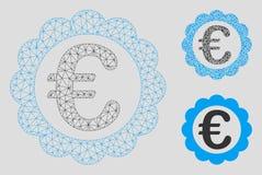 Kvalitets- stämpelvektor Mesh Carcass Model för euro och mosaisk symbol för triangel royaltyfri illustrationer