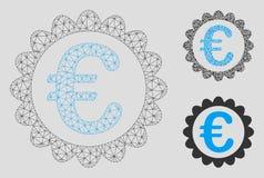 Kvalitets- vektor Mesh Wire Frame Model för euro och mosaisk symbol för triangel vektor illustrationer