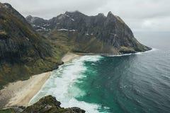 Kvalvika Beach on the Lofoten Islands, Norway. stock image