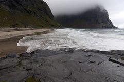 Kvalvika beach, Lofoten islands, Norway Stock Photography