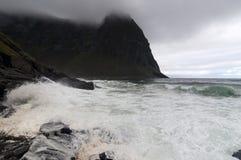 Kvalvika beach, Lofoten islands, Norway  Royalty Free Stock Image