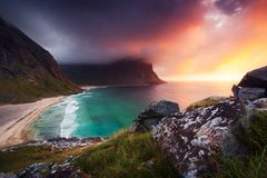Kvalvika beach in Norway Royalty Free Stock Images