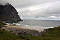 Kvalvika plaża, Lofoten wyspy, Norwegia Obraz Stock
