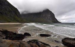 Kvalvika plaża, Lofoten wyspy, Norwegia Obrazy Royalty Free