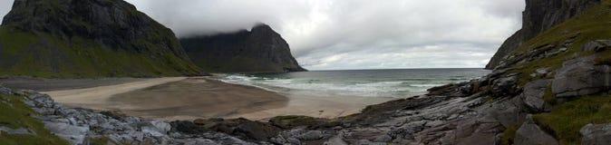 Kvalvika plaża, Lofoten wyspy, Norwegia Obraz Royalty Free
