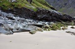 Kvalvika plaża, Lofoten wyspy, Norwegia Zdjęcia Royalty Free