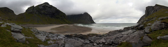 Kvalvika plaża, Lofoten wyspy, Norwegia Fotografia Stock