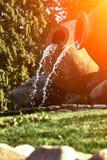 Kvareli, Georgia. Fountains in the form of wine pitcher. Sun flare. Kvareli, Georgia. Fountains in the form of wine pitcher. Europe. Travels. Sun flare stock image