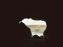 Kvarlevor av en gammal min nära de vulkaniska grottorna i den Ajuy byn, Fuerteventura, kanariefågelöar, Spanien Arkivbilder