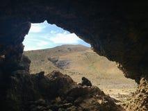 Kvarlevor av en gammal min nära de vulkaniska grottorna i den Ajuy byn, Fuerteventura, kanariefågelöar, Spanien Royaltyfria Foton