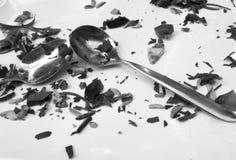 Kvarlevor av en sallad på en platta med två skedar royaltyfria bilder