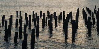 Kvarlevor för East River pirpilings som photgraphed från den Brooklyn bron parkerar arkivfoton
