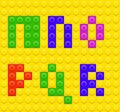 Kvarter 3 för tegelsten för alfabetkonstruktionslego Arkivbild