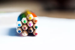 Kvarter av färgblyertspennor Royaltyfri Fotografi