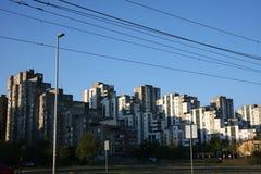 Kvarter av gråa skyskrapor Royaltyfri Fotografi