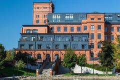 Kvarter av hus i staden av Lodz Royaltyfri Bild