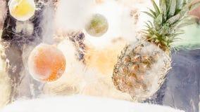 Kvarter av is med djupfrysta tropiska frukter Arkivbild