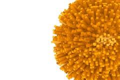 kvarter 3d som abstrakt orange sfär Arkivfoto