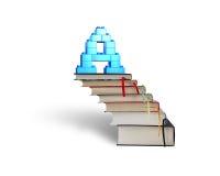 Kvarter för form för alfabetbokstav A på bunt bokar trappa Royaltyfri Bild