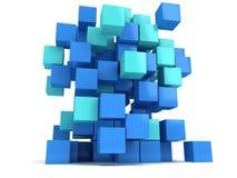 kvarter för kuber 3D På vit bakgrund Arkivfoto
