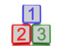 Kvarter med 1,2 och 3 som är skriftliga på det Royaltyfri Bild