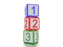 Kvarter med 1,2 och 3 som är skriftliga på det Arkivfoton