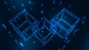 Kvarterkedja Crypto valuta Blockchain begrepp isometriskt digitalt kvarter 3D med digital kod Redigerbar Cryptocurrency mall arkivfoto