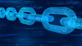 Kvarterkedja Crypto valuta Blockchain begrepp kedja för wireframe 3D med digital kod Redigerbar Cryptocurrency mall illus 3d royaltyfri bild