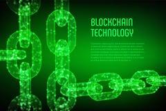 Kvarterkedja Crypto valuta Blockchain begrepp kedja för wireframe 3D med digitala kvarter Redigerbar Cryptocurrency mall materiel Royaltyfri Bild