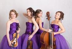 kvartett för spelrum för barninstrument musikalisk Royaltyfri Fotografi