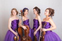 Kvartett med instrument royaltyfri foto