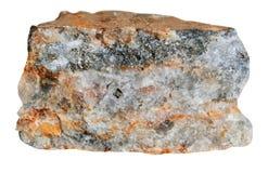 Kvarts med sulfider på en vit bakgrund Arkivfoton