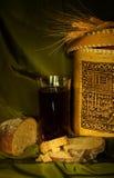 Kvas. Russian kvas with bread and seeds Stock Photos