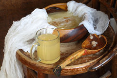 Kvass (kvas) on house on grain ferment Royalty Free Stock Images