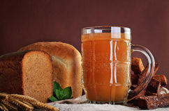 Kvass, traditional Slavic and Baltic fermented beverage Stock Photos